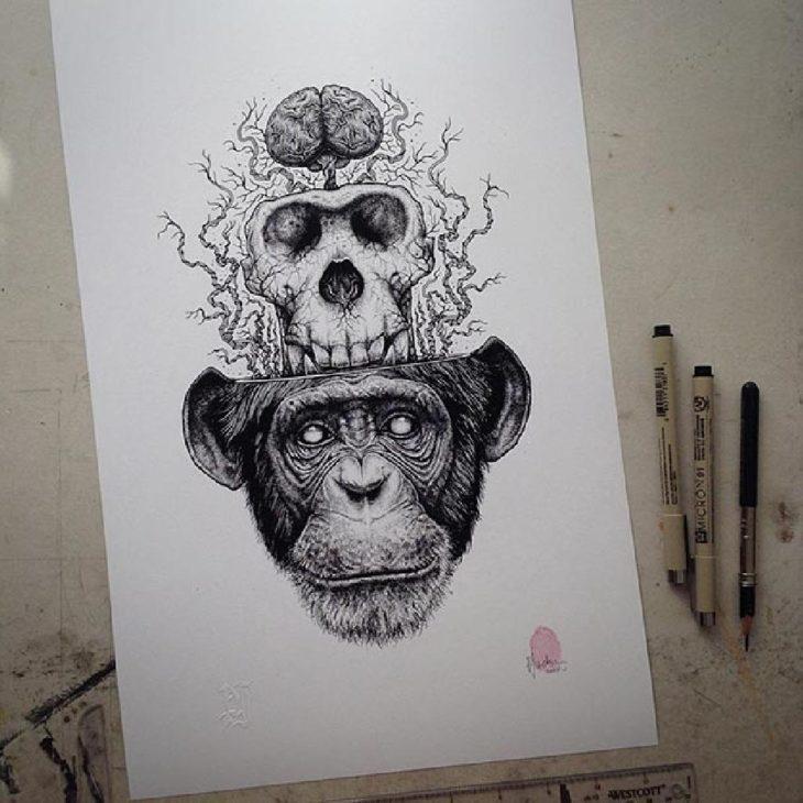 dibujo del cráneo de un chango desprendiéndose de su cabeza