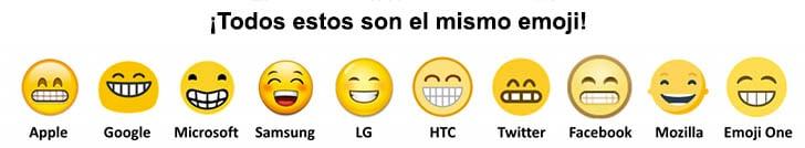 diferentes apariencias de un emoji según el navegador y la marca de celular