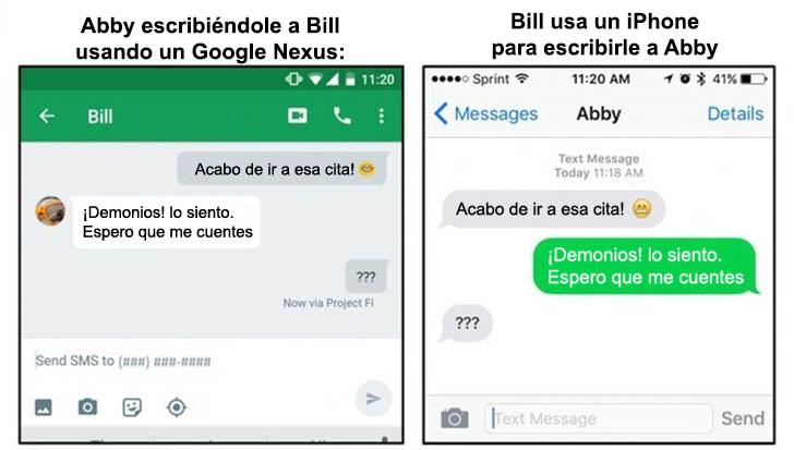 diferencia de una conversación en Android y en un iPhone