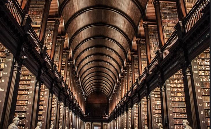 TECHO DE MADERA DE LA BIBLIOTECA DE DUBLÍN, IRLANDA