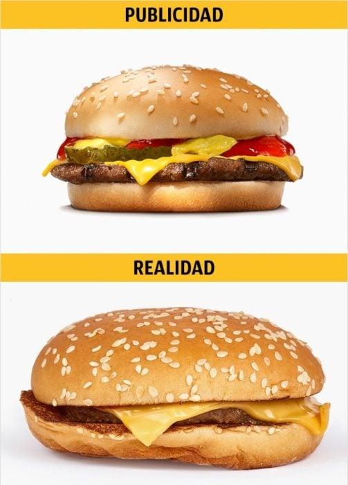 PUBLICIDAD/REALIDAD Cheeseburger de Burger King