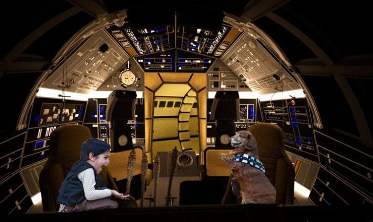 Batalla de Photoshop al niño y su perro vestidos de Han Solo y Chewbacca sobre una nave de star wars