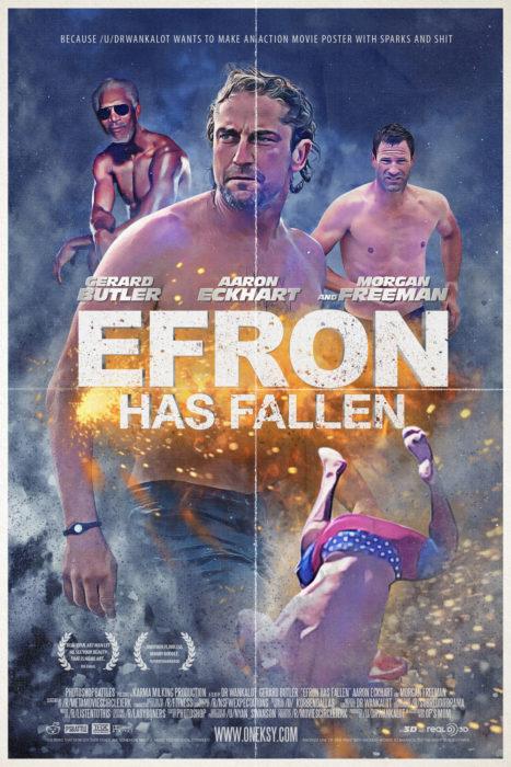 Batalla de Photoshop de la caída de Zac Efron en la portada de una película