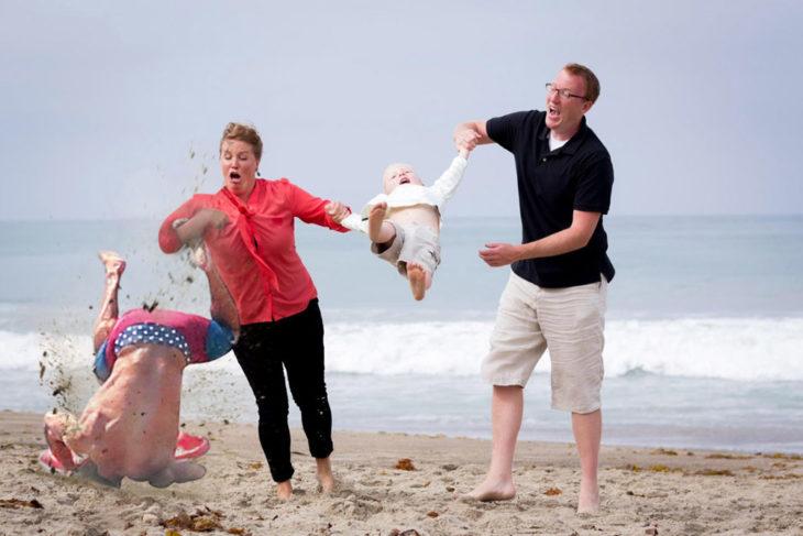 Batalla de Photoshop de la caída de Zac Efron en la foto de la mamá a la que se le cae el hijo