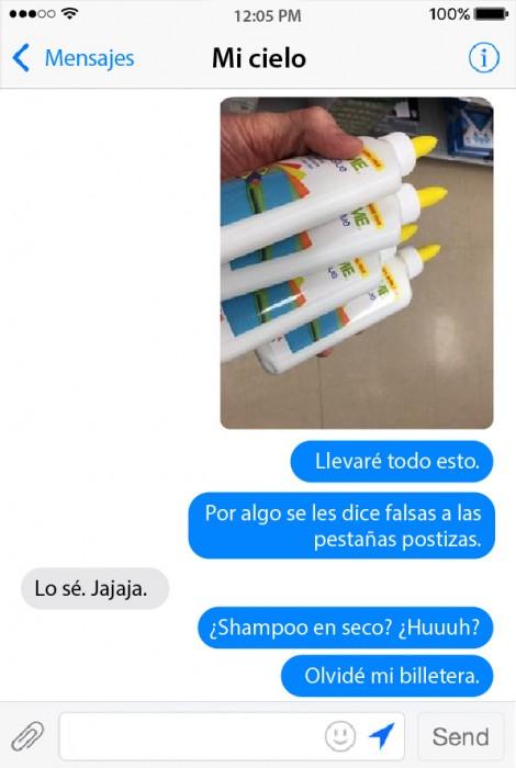 captura de pantalla de la conversación entre un chico y su novia comprando productos de belleza