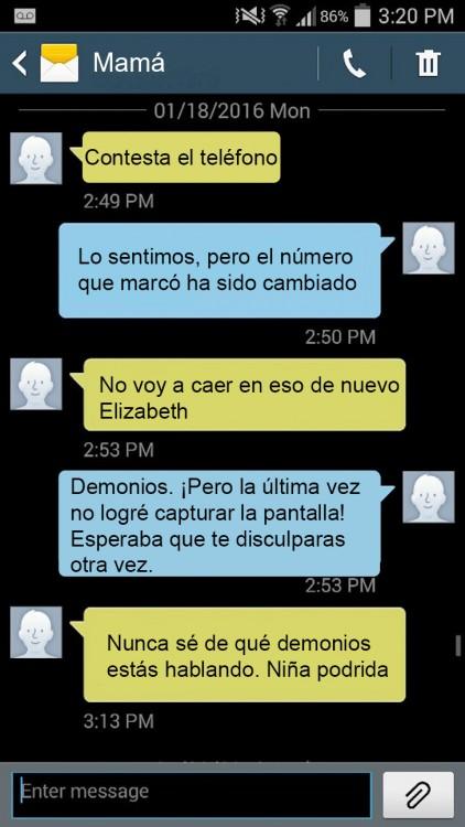 graciosos mensajes de una madre con su hija diciendo que el númeroque marcó ha sido cambiado