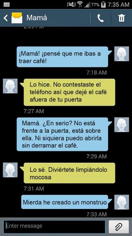 mensajes graciosos de una madre trolleando a su hija por mensajes de texto