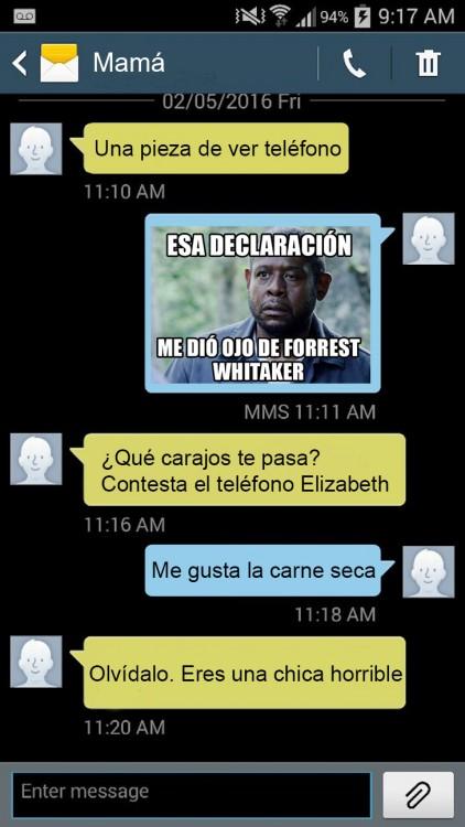 captura de pantalla de los mensajes de texto entre una madre con su hija troll