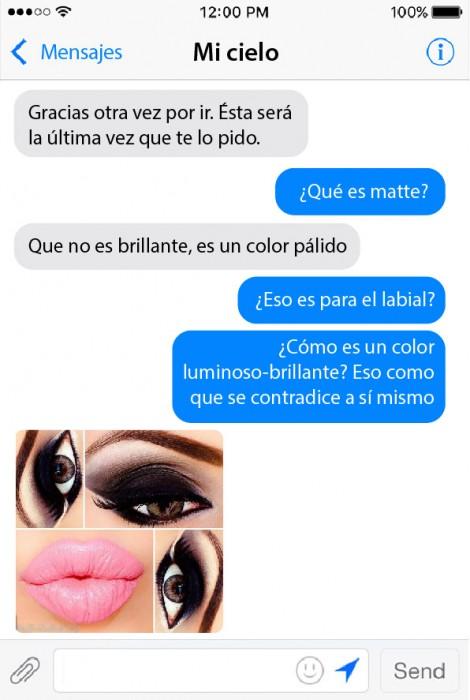 captura de pantalla de la conversación de una chica que pidió maquillaje a su novio