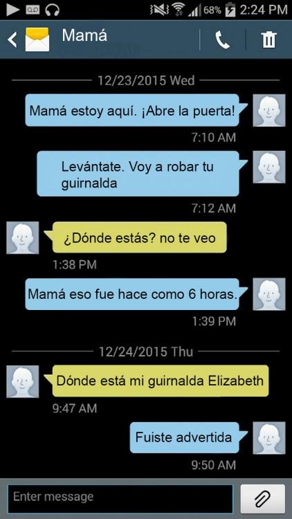 captura de pantalla de mensajes de texto