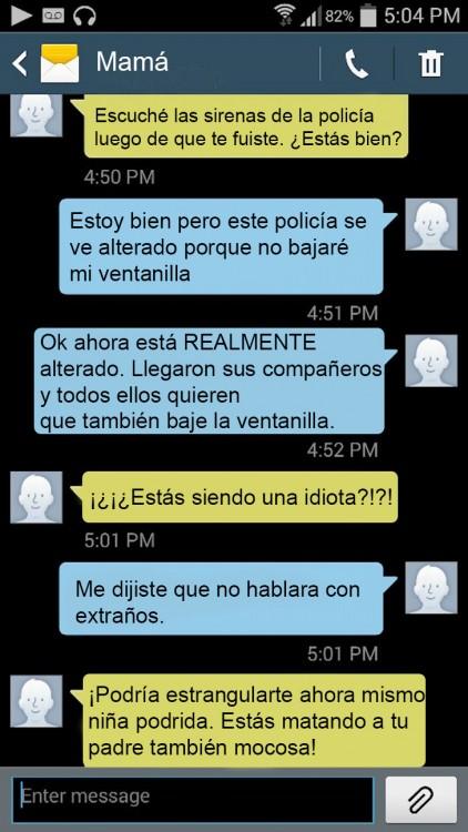captura de pantalla de mensajes graciosos de una hija con su madre