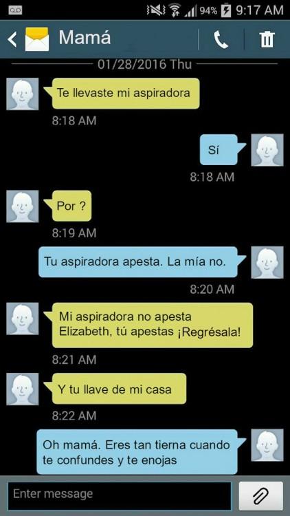 mensaje de una madre reclamando a su hija por su aspiradora