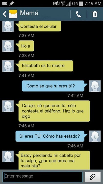 mensaje de una madre diciendo a su hija que conteste el celular