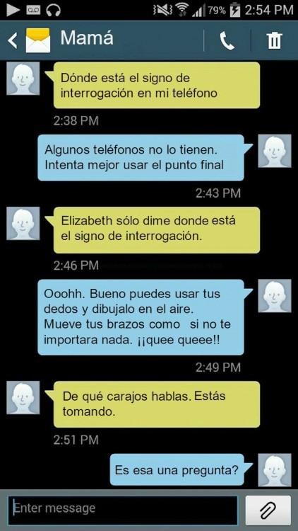 mensajes de una madre preguntando a su hija dónde se pone el signo de interrogación