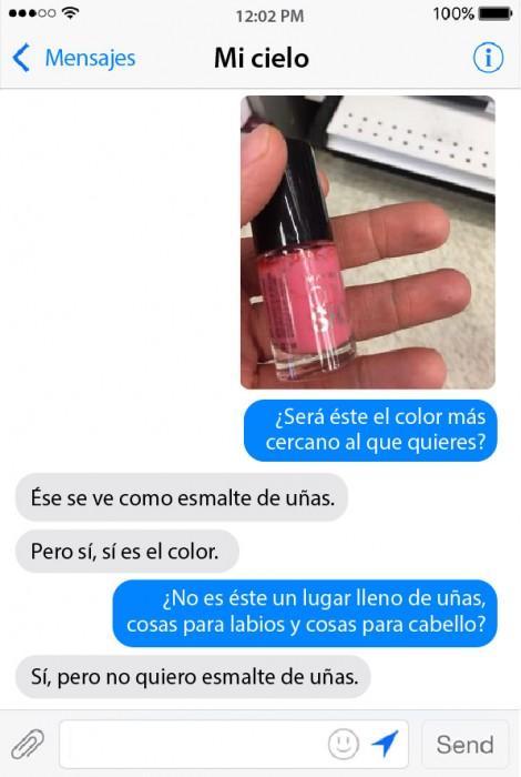 conversación de un chico mostrando los productos que va a comprar para su novia