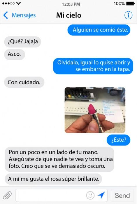captura de pantalla de los mensajes entre una pareja