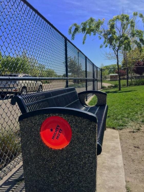 Frisbie de color rojo dentro de un agujero en una banca de un parque