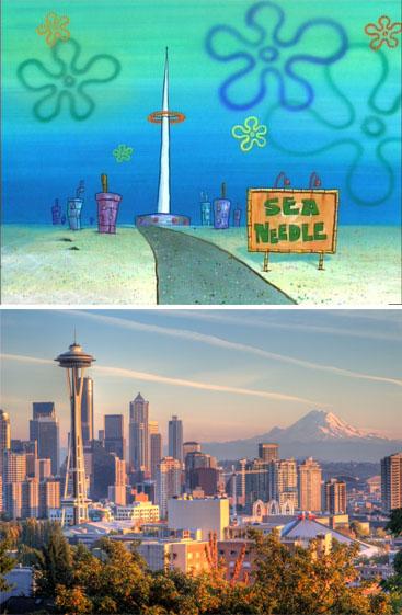 imagen comparativa de Fondo de Bikini con la Ciudad de Seattle