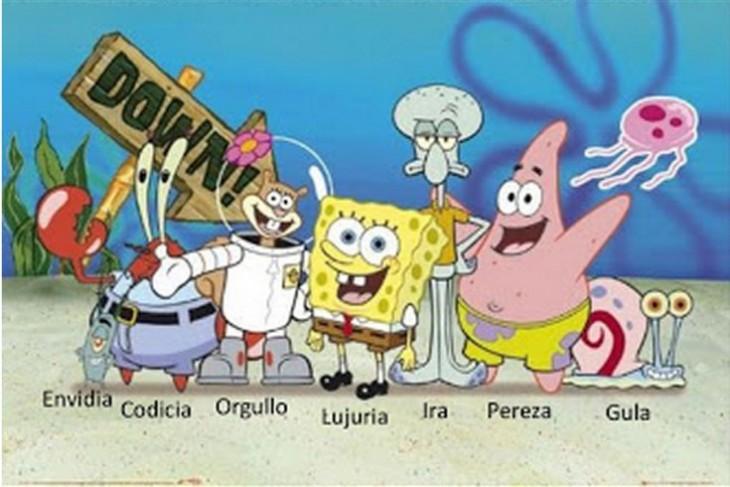 personajes principales de Bob Esponja representan los 7 pecados capitales