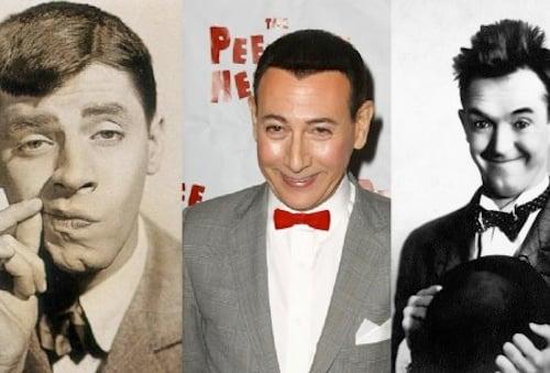 comediantes Jerry Lewis, Stan Laurenl y Pee-Wee Herman
