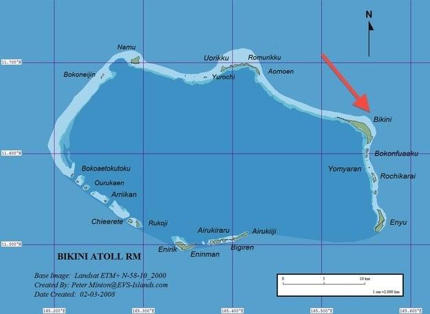 mapa que muestra la ubicación de Fondo de Bikini