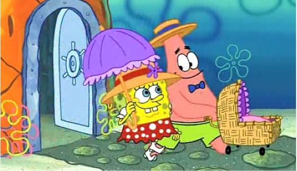Bob esponja y patricio paseando en una carreola a su bebé