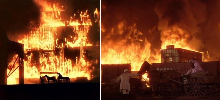 escena del incendio de Atlanta en la película Lo que el viento se llevó