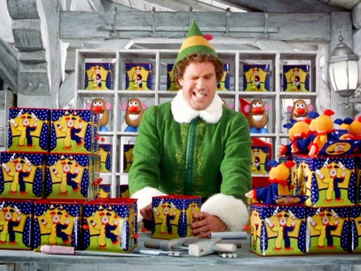 escena de la caja sorpresa del actor Will Ferrell en la película Elf el Duende