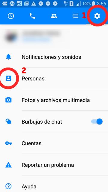 captura de pantalla para ver las configuraciones en una conversación en Messenger