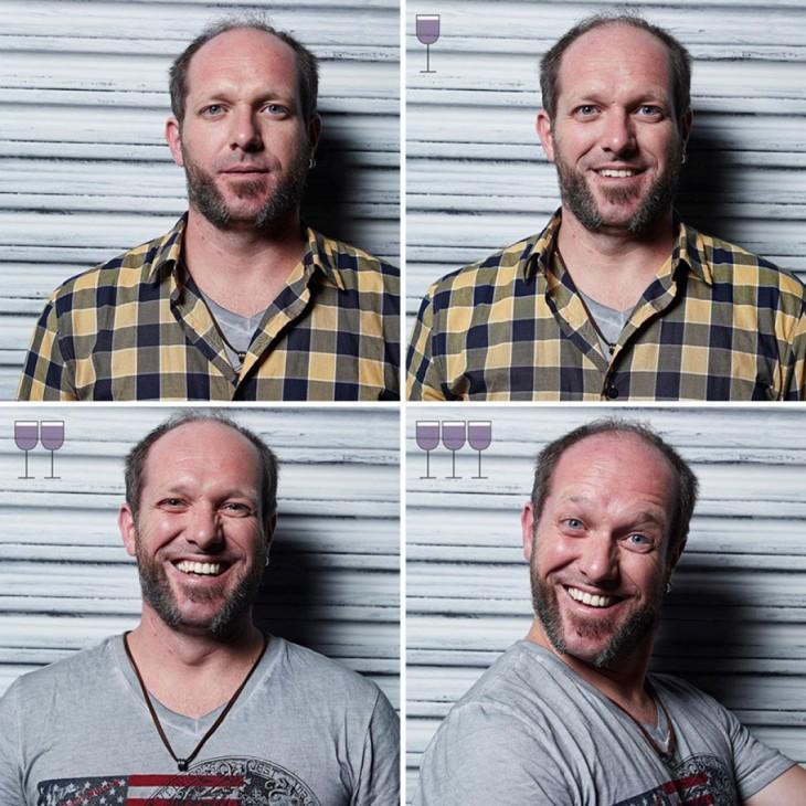 collage de fotos de un hombre que cambia sus expresiones conforme se toma una copa de vino