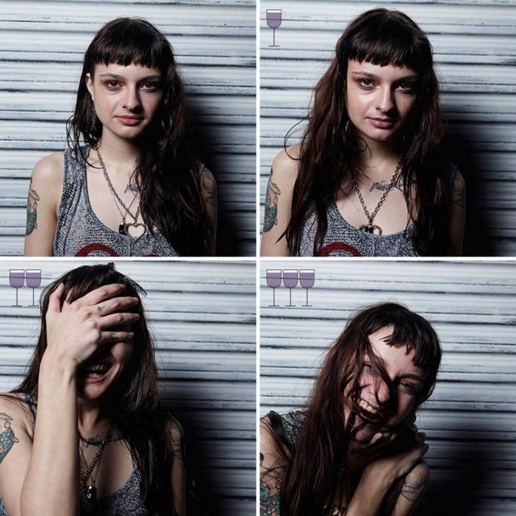 collage que muestra las expresiones de una chica después de 3 copas de vino