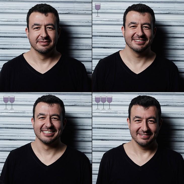 collage de la evolución de un hombre antes y después de tomarse tres copas de vino