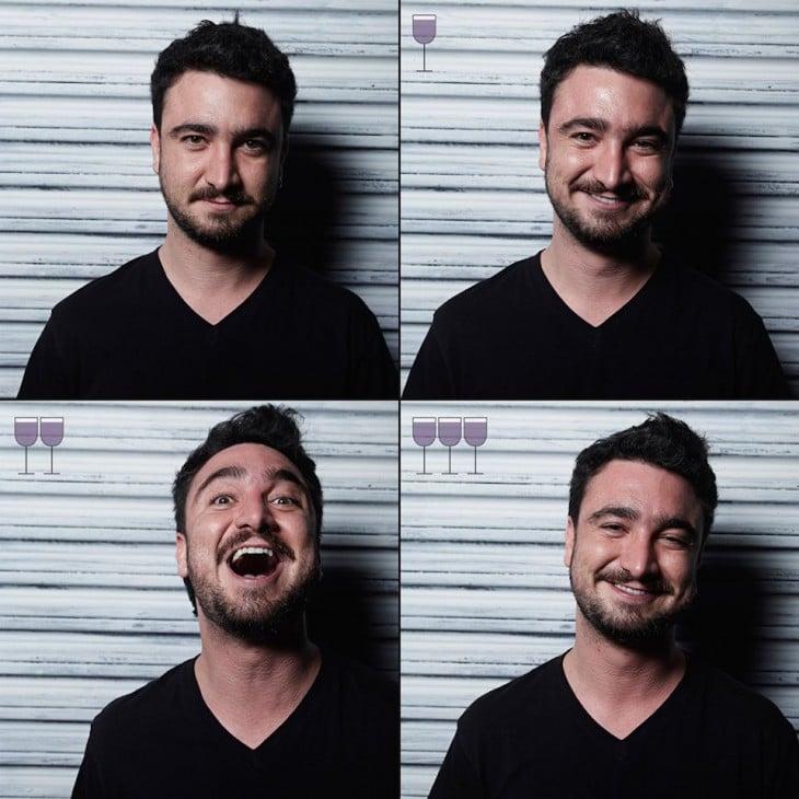 fotografías de las expresiones de un chico después de tomarse 3 copas de vino