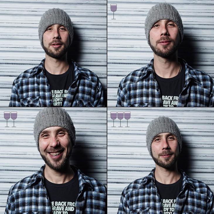 fotografías de un chico antes y después de tomarse 3 copas de vino