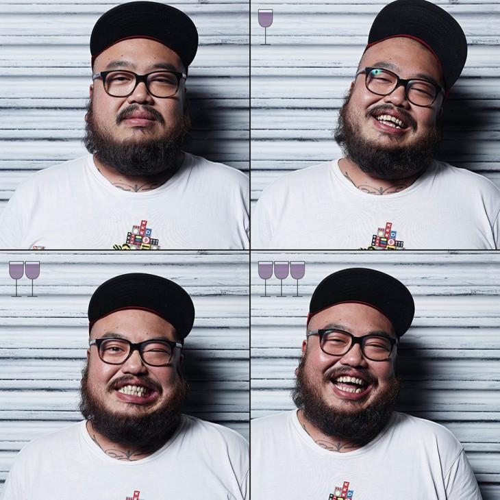 expresiones de un hombre antes y después de tomarse 3 copas de vino