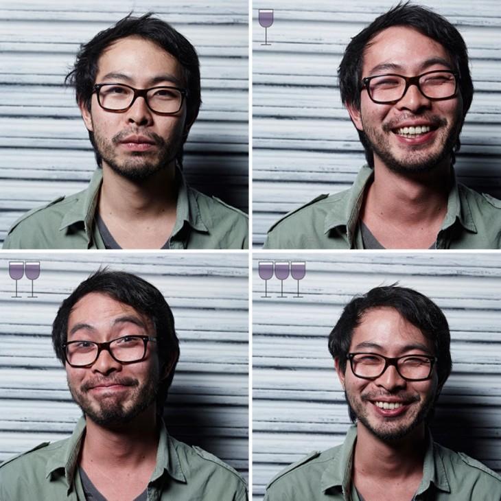 collage de fotos que muestran la evolución de la cara de un chico antes, durante y después de tomar 3 copas de vino