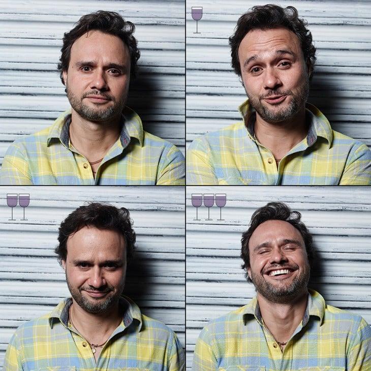 fotografías que muestran como cambia la cara de un chico después de tomar 3 copas de vino