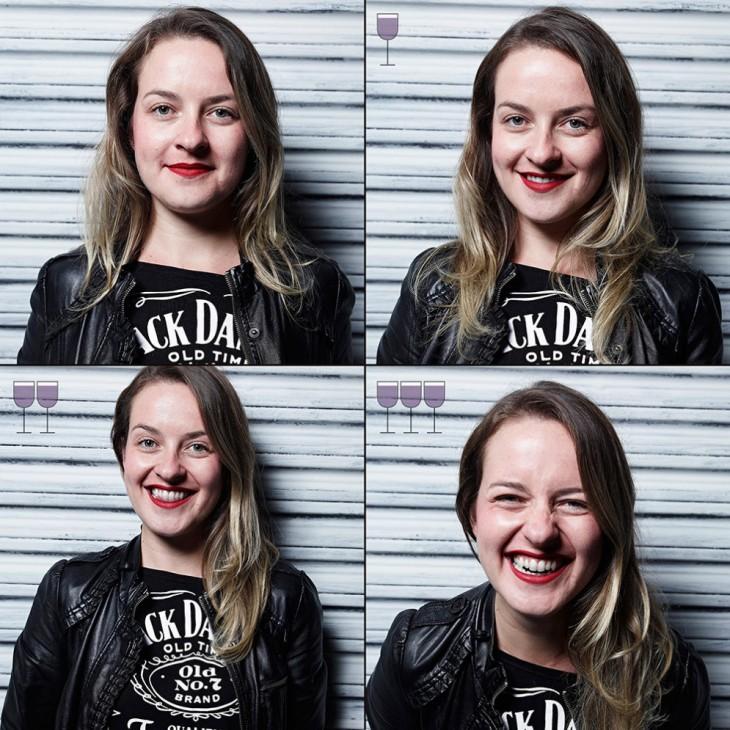chica antes y después de tomar 3 copas de vino