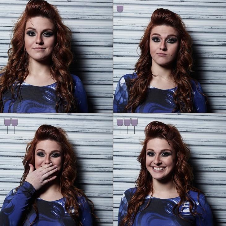 collage de fotos de una chica después de haber tomado 3 copas de vino