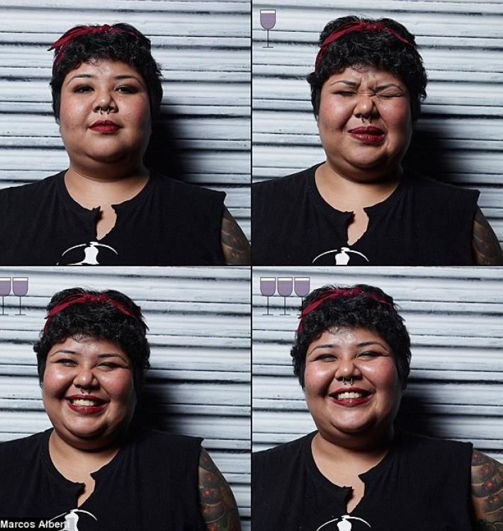 cuatro fotografías de una mujer después de tomar 3 copas de vino