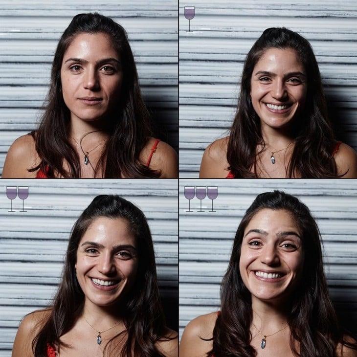 fotografías de la cara de una chica antes, durante y después de tomar 3 copas de vino