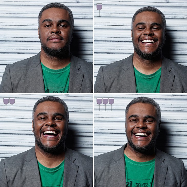 collage de 4 imágenes de un hombre después de tomar 3 copas de vino