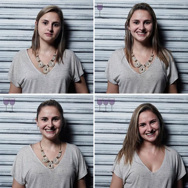 fotografías de una chica cambiando sus expresiones después de beber 3 copas de vino