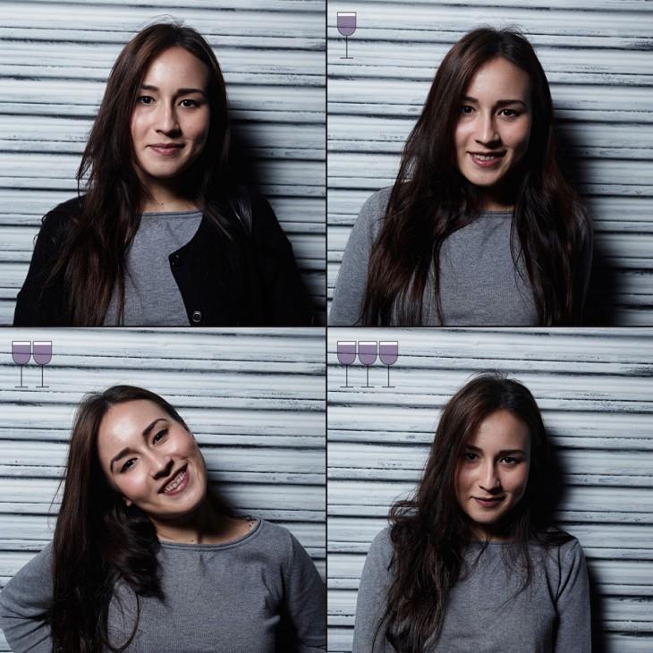 fotografías de una mujer que cambia sus expresiones después de tomar 3 copas de vino