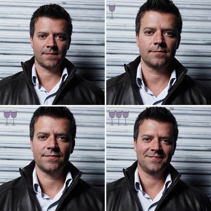 collage de cuatro fotografías de las expresiones de un hombre después de tomar 3 copas de vino
