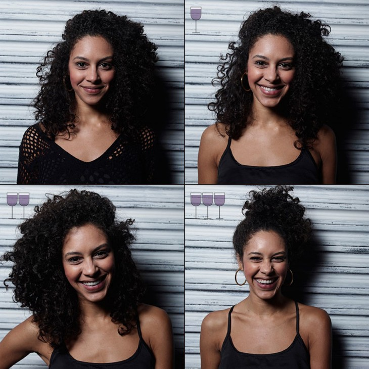expresiones de una mujer antes y después de 3 copas de vino