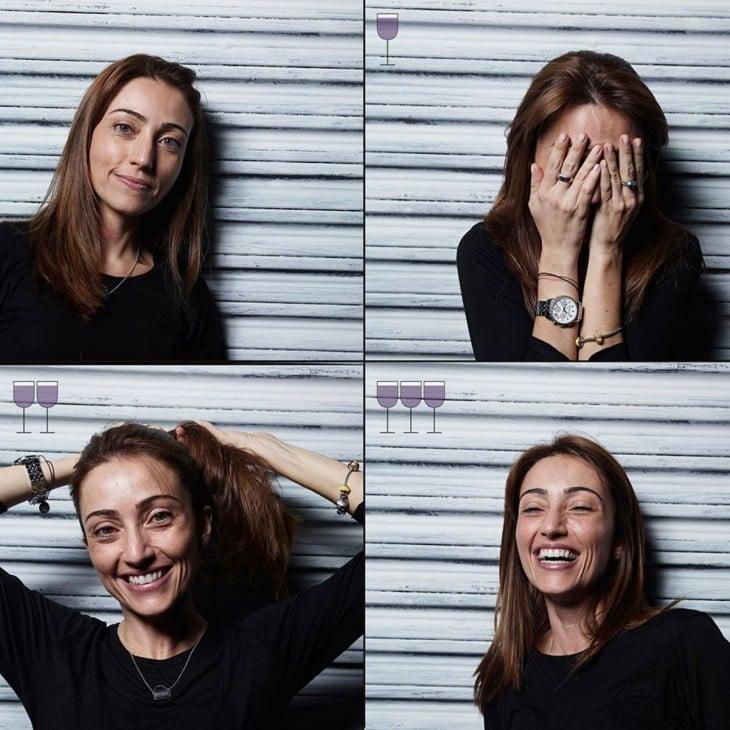 fotógrafo muestra las expresiones de esta chica después de la 3ra copa de vino