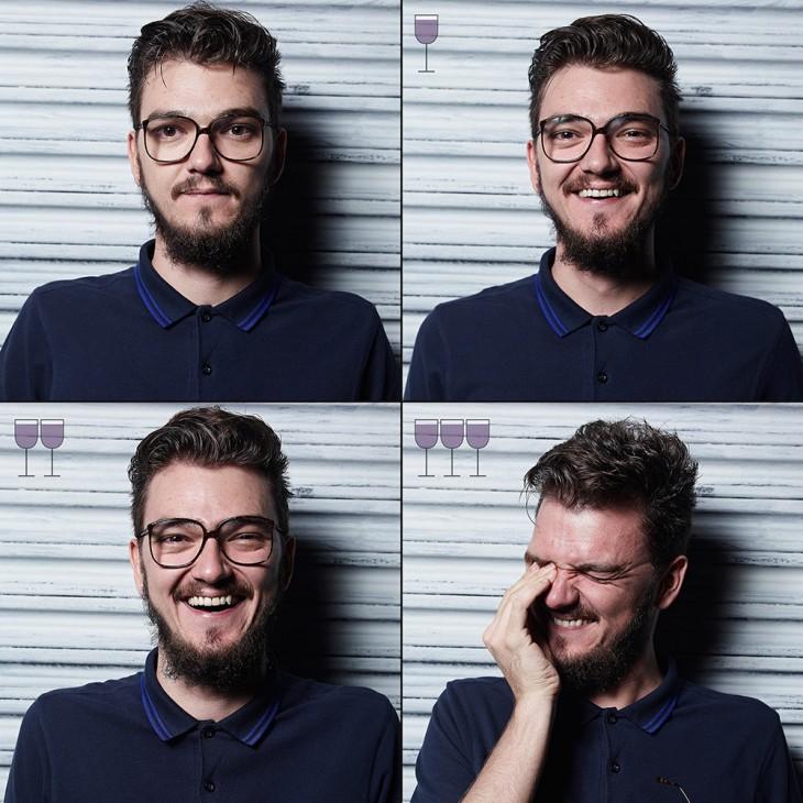 collage que muestra como cambian las expresiones de un chico conforme se toma 3 copas de vino a