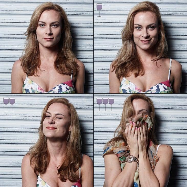collage muestra las expresiones de una chica antes, durante y después de tomar 3 copas de vino