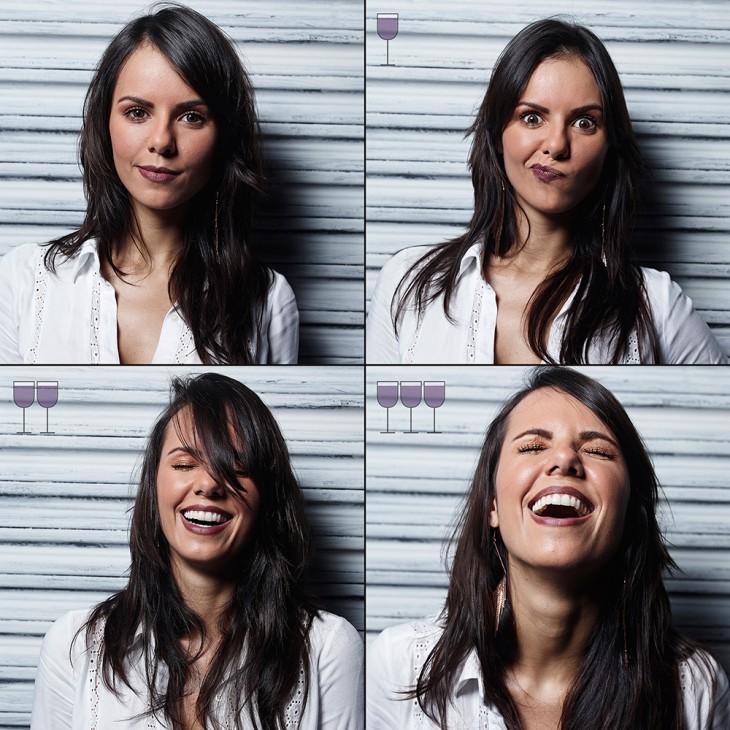 collage de fotografías de una mujer que cambia sus caras conforme se toma una copa de vino